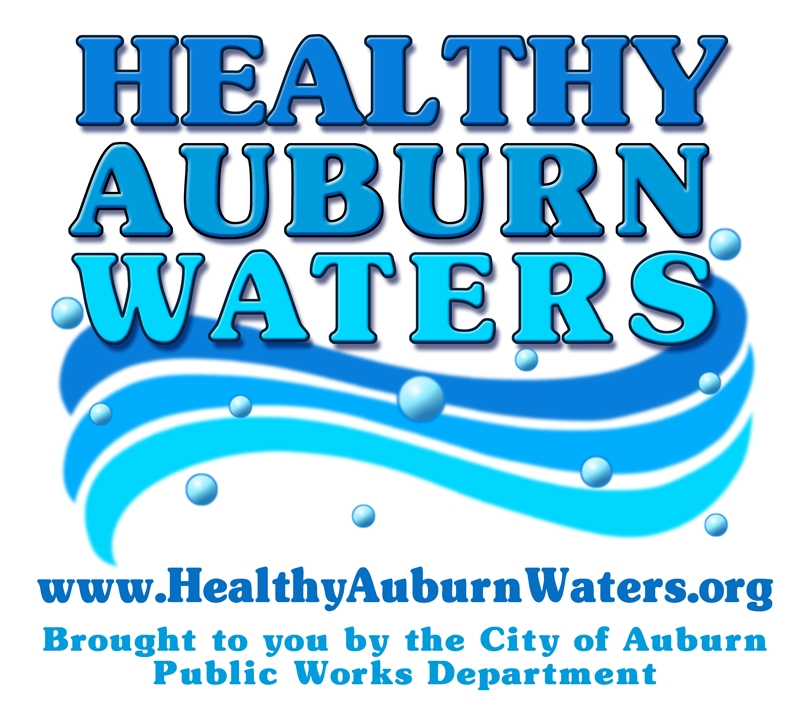 Healthy Auburn Waters Logo Brought to You by the City of Auburn Public Works Department