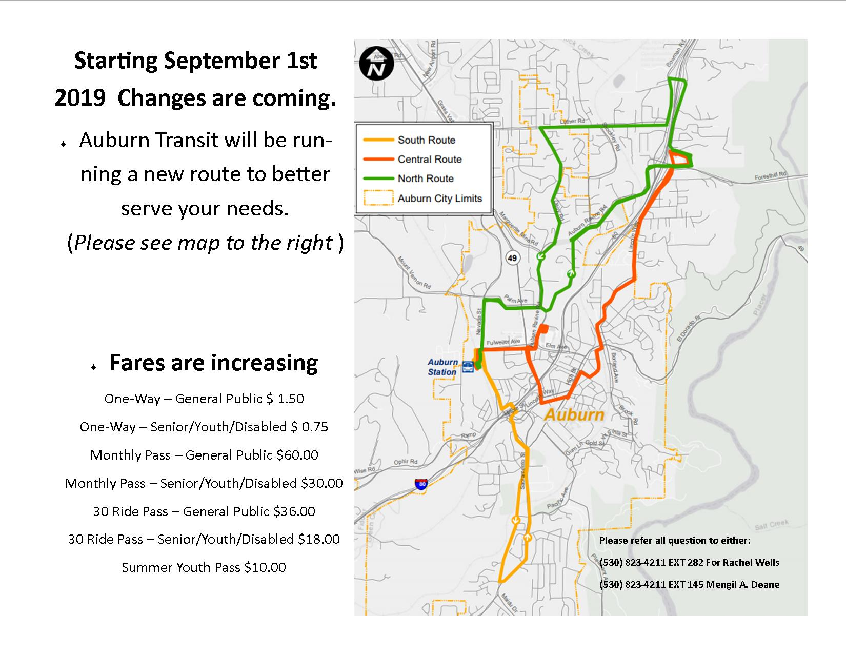 Route Change update 8.20.19