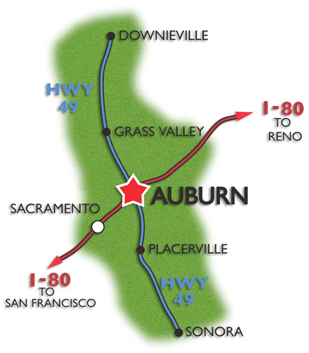 Basic Map of Auburn on Interstate 80